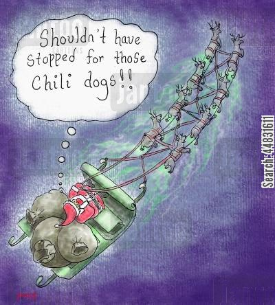 sleighs cartoon humor: Reindeer Farts: 'Shouldn't have stopped for those chilli dogs.'