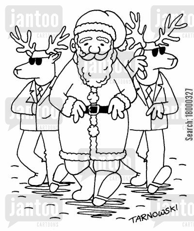 santa cartoon humor: Santa with reindeer minders (black and white).