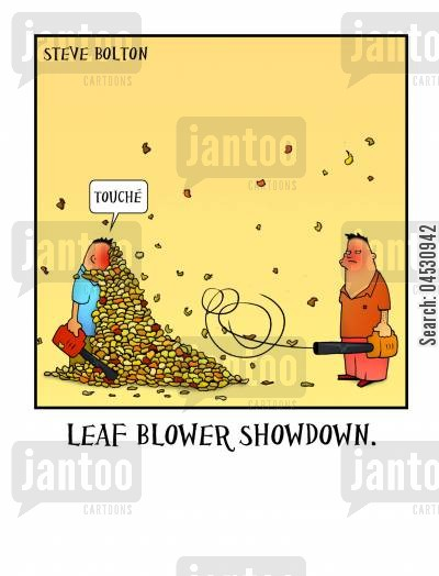 garden chore cartoon humor: Leaf Blower Showdown.