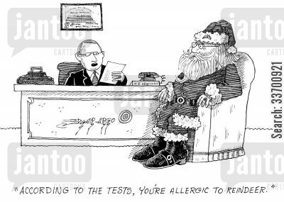 allergy tests cartoon humor: 'According to the tests, you're allergic to reindeer.'