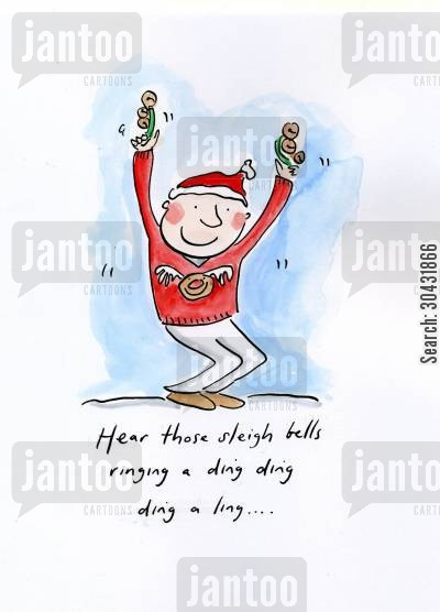 sleigh bells cartoon humor: Hear those sleigh bells ringing a ding ding ding a ling...