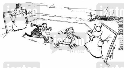 goalies cartoon humor: Playing football with snowmen in goal.