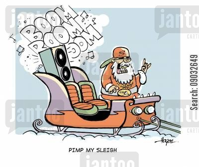 pimp my ride cartoon humor: Pimp my sleigh.