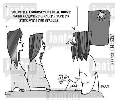 nativities cartoon humor: 'The hotel, endorsement deal didn't work out, we're going to have to stick with the stables,'