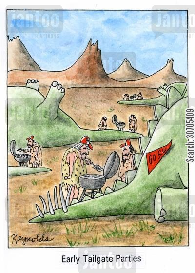 partiers cartoon humor: Early Tailgate Parties.