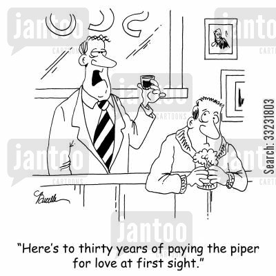 mills cartoon humor: 'Here's to thirty years for paying the piper for love at first sight.'