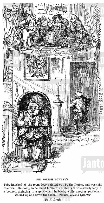 dickens cartoon humor: Sir Joseph Bowley's