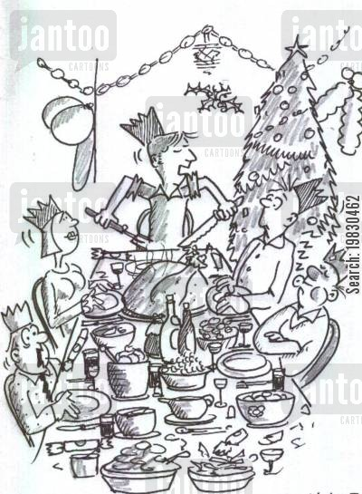 christmas day cartoon humor: 'Right, who wants the little bag of jiblets?!'