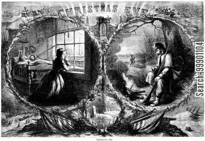rifleman cartoon humor: Christmas Eve during the Civil War