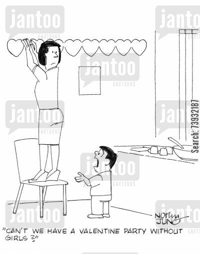 battle of the sexes cartoon humor: 'Can't we have a valentine party without girls?'