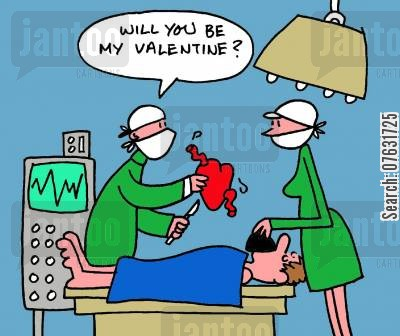 hearts cartoon humor: Surgeon gives nurse heart, saying, Will you be my valentine?