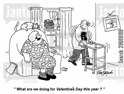 old men cartoon humor: 'What are we doing for Valentines Day this year?'