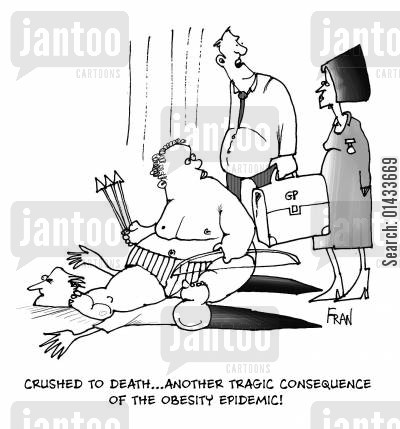 crushed to death cartoon humor: Crushed to death...another tragic consequence of the obesity epidemic.