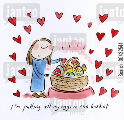 eggs in one basket cartoon humor: I'm putting all my eggs in one basket.