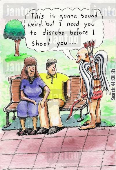 romancing cartoon humor: Cupid approaches a couple sitting on a park bench and says 'This is going to sound weird, but I need you to disrobe before I shoot you. . .'