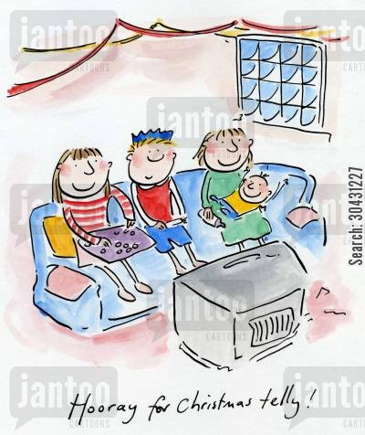 christmas day cartoon humor: Hooray for Christmas telly!
