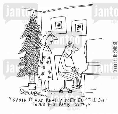 existence of father christmas cartoon humor: 'Santa Claus really does exist! I just found his website.'