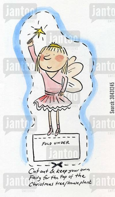 cut outs cartoon humor: Cut out and keep your own Christmas Fairy.
