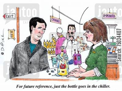 retailer cartoon humor: 'For future reference, just the bottle goes in the chiller.'