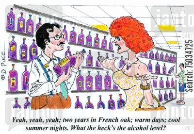 sales pitches cartoon humor: 'Yeah, yeah, yeah; two years in French oak; warm days; cool summer nights. What the heck's the alcohol level?'