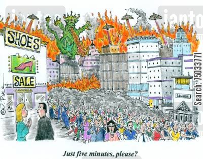 shoe stores cartoon humor: 'Just five minutes, please?'
