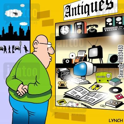 turntable cartoon humor: Antiques.