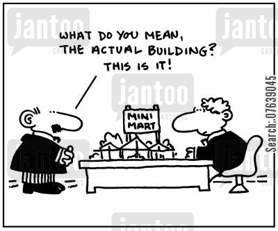 shopping malls cartoon humor: 'What do you mean actual building? This is it.'