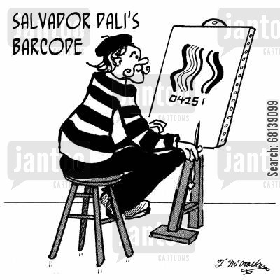 computer scan cartoon humor: Salvador Dali's Barcode