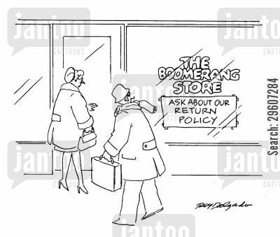return policy cartoon humor: The Boomerang Store. Ask about our return policy.
