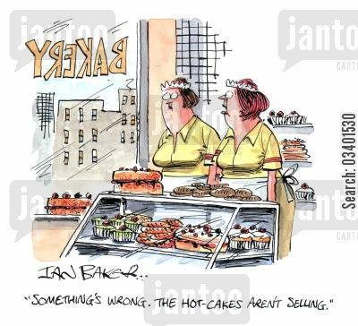cake sellers cartoon humor: 'Something's wrong. The hot-cakes aren't selling.'