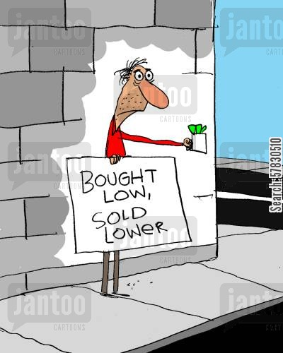 profiteering cartoon humor: Bought low, sold lower.
