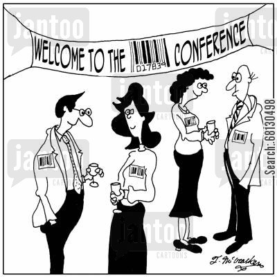 tagging cartoon humor: People at a conference all wear name-tags that are barcodes.