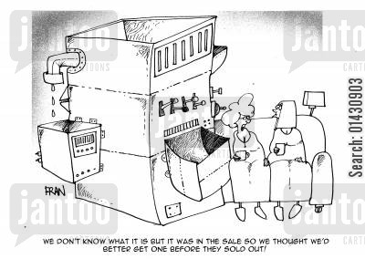 bargain shopping cartoon humor: 'We don't know what it is but it was in the sale so we thought we'd better get one before they sold out.'