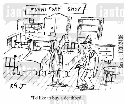 death beds cartoon humor: 'I'd like to buy a deathbed.'