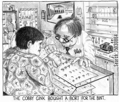 board game cartoon humor: The cobby gink bought a bort for the bint.