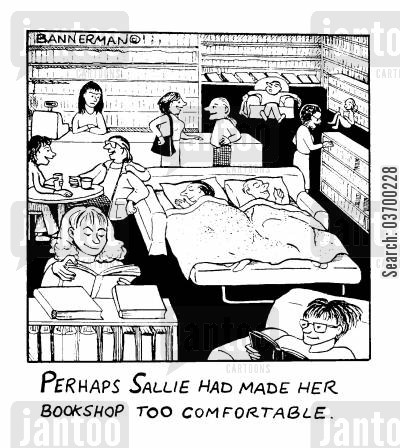 sofabed cartoon humor: 'Perhaps Sallie had made her bookshop too comfortable'