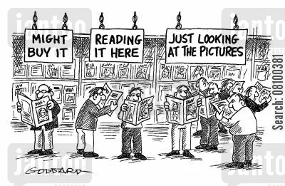 browser cartoon humor: Magazine Section at Shops