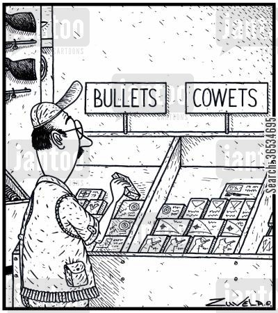 version cartoon humor: Bullets and Cowets