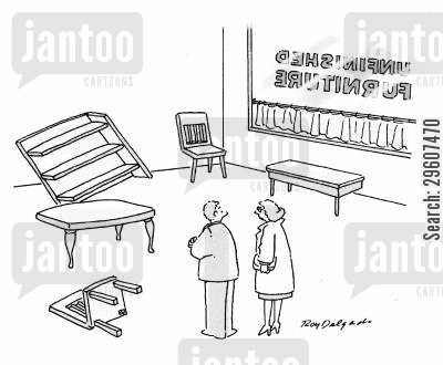 furniture cartoon humor: Unfinished furniture.
