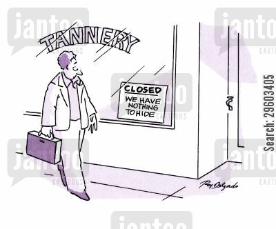 notices cartoon humor: Tannery.