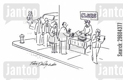 stall cartoon humor: Clues.