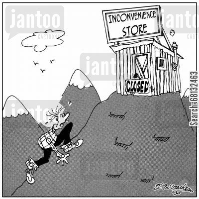mountain ranges cartoon humor: Inconvenience Store