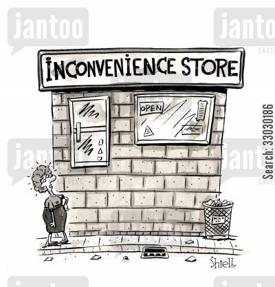 corner shops cartoon humor: Inconvenience Store.