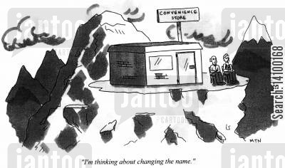 corner shops cartoon humor: I'm thinking about changing the name.