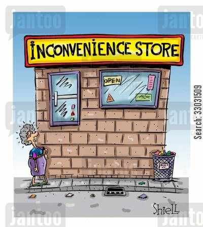 corner shops cartoon humor: INCONVIENIENCE STORE.