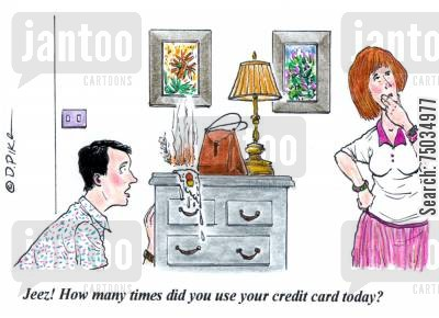 shopping trip cartoon humor: 'Jeez! How many times did you use your credit card today?'