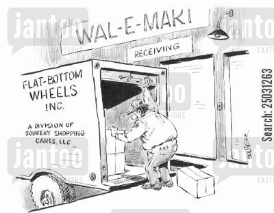 grocery shops cartoon humor: Delivery of flat-bottom wheels to supermarket