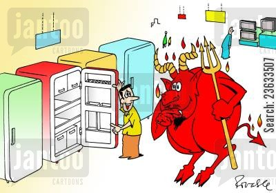 electrical appliance cartoon humor: Devil buys a fridge (its hot in hell).