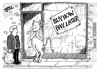 interest free credit cartoon humor: Buy Now, Pay Later