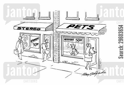 pet shop cartoon humor: Check the products and prices.